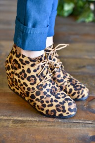 CLEARANCE Leopard Laced Up Booties