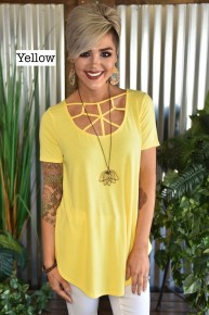 Yellow S/S Web Top