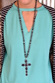 Black Stone Cross Necklace