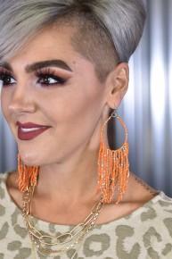 Tangerine Beaded Teardrop Tassel Earrings