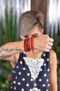 Red Glass Beaded Bracelet Set