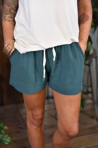 Seaweed Linen Blend Shorts