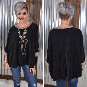 Black 3/4 Sleeve Oversized Sweater