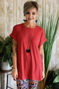 Red Rolled Sleeve Top
