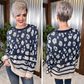 Navy Leopard Print Sweater