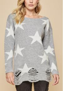 Oh My Stars Distressed Sweater