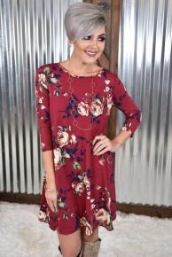 Burgundy Flirty Floral Dress with Pockets