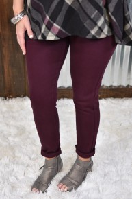 Kan Can Burgundy High Rise Skinny Jeans