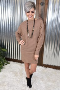 Brown Waffle Knit Tunic Dress