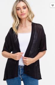 Black S/S Knit Kimono