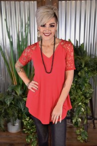 Ruby Lace Sleeve V Neck Top