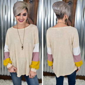 Brushed Waffle Colorblock Top