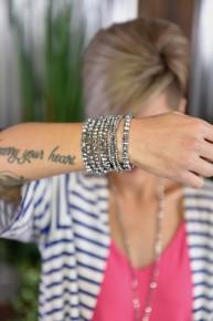 Hematite Glass Beaded Bracelet Set