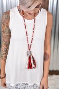 Red Crystal Heart Fabric Tassel Necklace