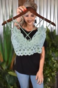 Dusty Teal Crochet Lace Bralette