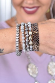 Silver Stacked Bracelet Set