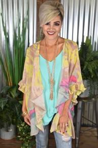 Yellow Mix Side Slit Kimono