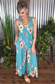 Jade Floral Wrap Jumpsuit