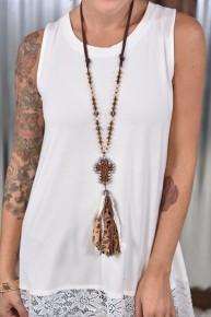 White Leopard Cross Necklace