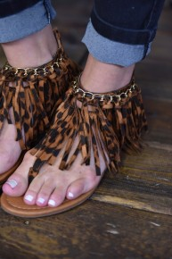 CLEARANCE Leopard Fringe Sandals