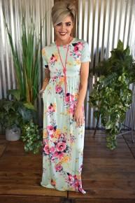Mint Floral S/S Maxi Dress