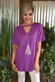Purple Textline V Neck Top