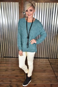Green L/S Burnout Sweater