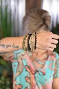 Black Stackable Beaded Bracelets