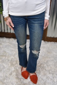 L & B Ankle Flare Distressed Jeans