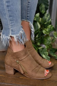 Tan Wonderlust Peep Toe Booties