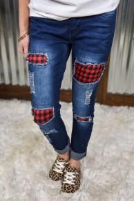 L & B Buffalo Plaid Patch Skinny Jeans