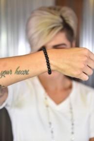 Matte Black Stone Beaded Bracelet