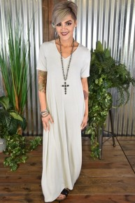 Grey Mist S/S V Neck Maxi Dress