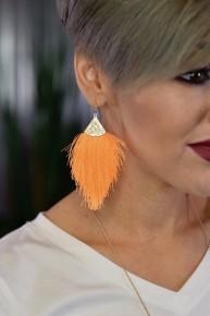 Neon Tangerine Thread Tassel Earrings