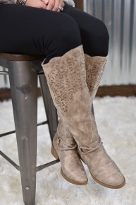 Cream Twisted Tall Boot