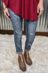 L & B High Rise Distressed Jeans