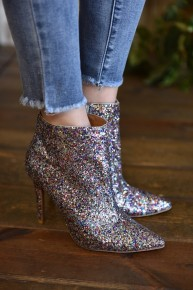 CLEARANCE Silver Glitter Booties