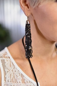 Black Multi Bead Tassel Earrings