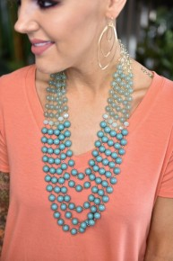 Turquoise Waterfall Beaded Necklace