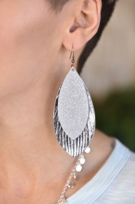 Glitter Feather Earrings