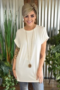 Ivory Rolled Sleeve Top