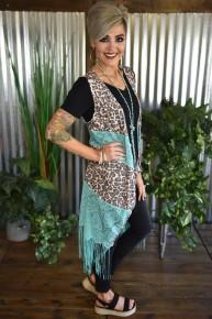 Leopard & Turquoise Vixin Vest
