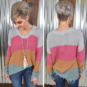 Gina's Pink Striped Sweater