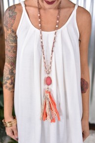 Sweet as a Peach Druzy Necklace
