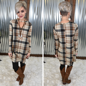 Brown Plaid Cut Out Dress