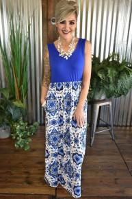 CLEARANCE Blue Medallion Maxi Dress