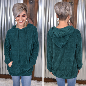 Hunter Green Chenille Hoodie