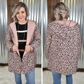 Mauve Leopard Print Puffer Jacket