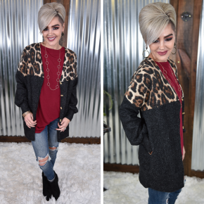 Cheetah L/S Colorblock Cardigan