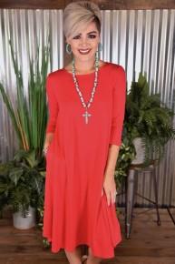 Ruby 3/4 Sleeve Basic Dress